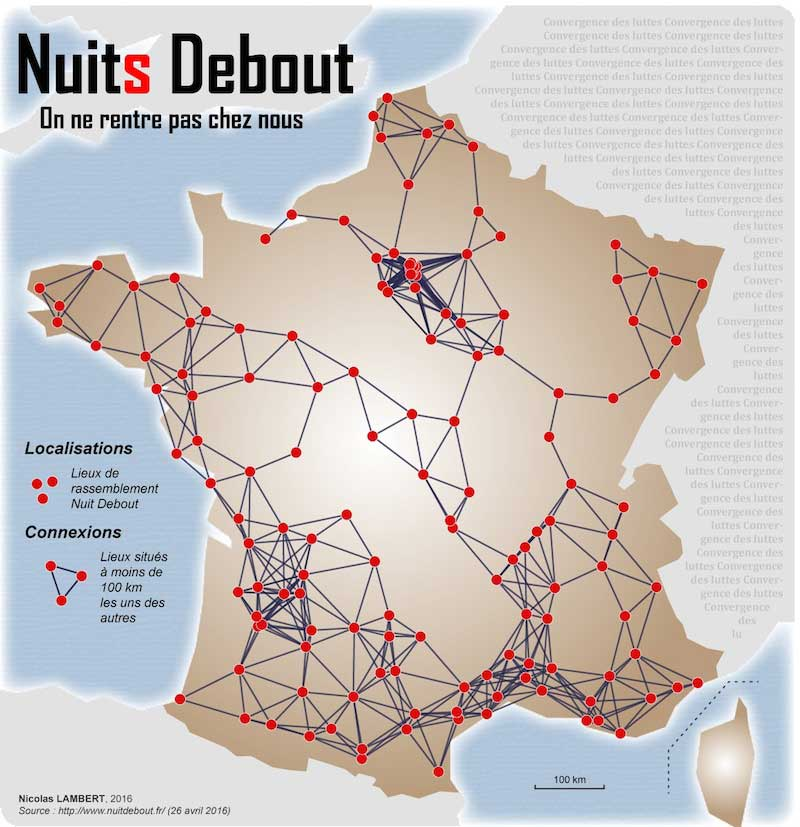Carte de Nuit Debout France