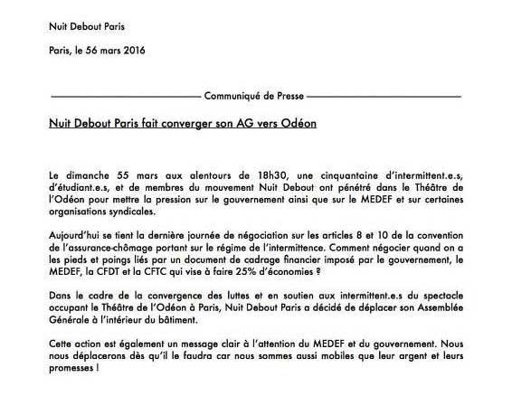 Communiqué de Nuit Debout #56mars