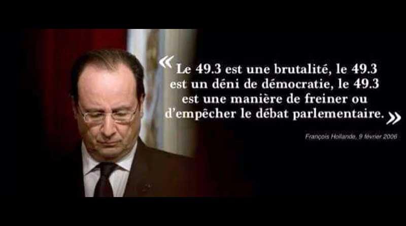 Le 49-3 est une brutalite (Hollande)