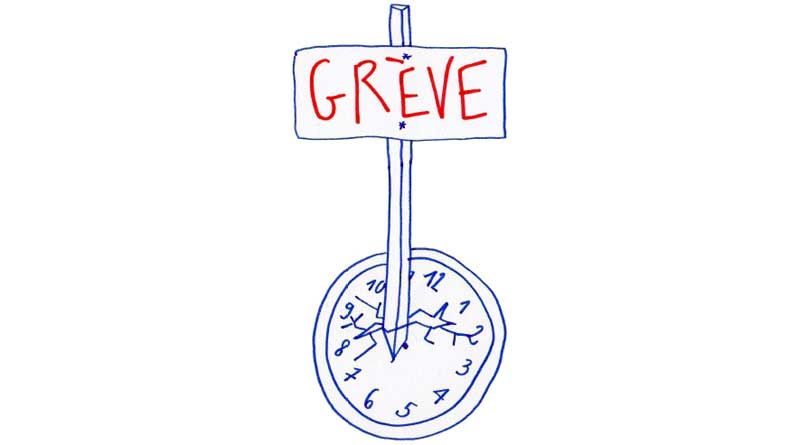 dessin Piquet de grève dans l'horloge