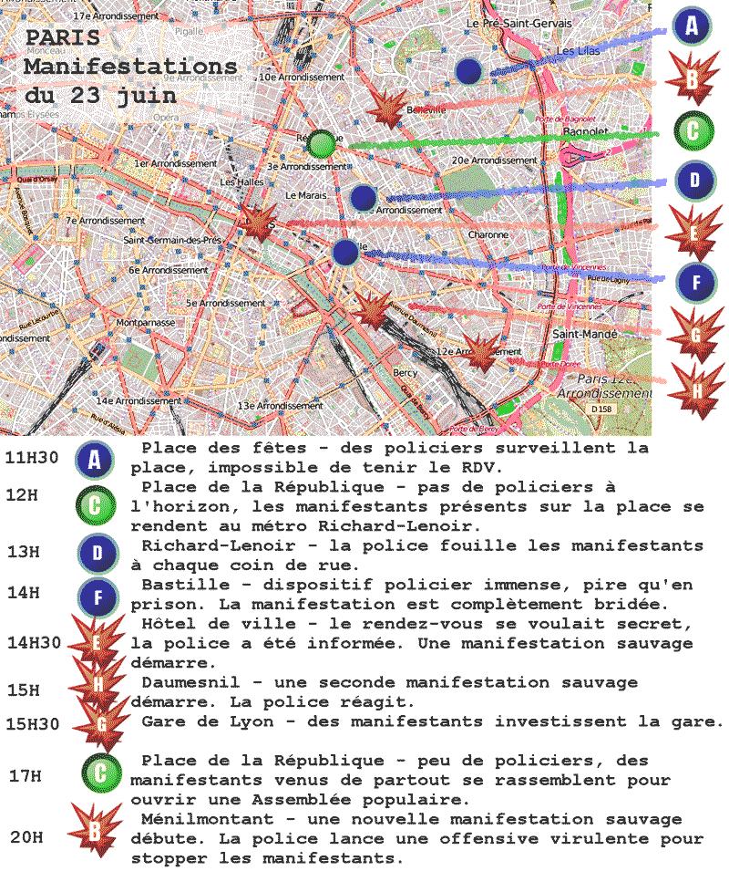 carte23 - différentes manifestations ont eu lieu le 23 juin dans Paris.