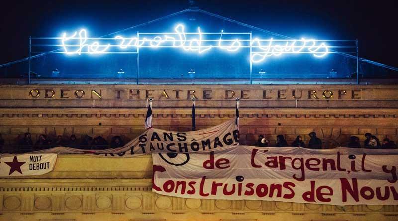 Occupation du Théatre de l'Odéon par les intermittents, le CIP et des participants à Nuit debout Paris.