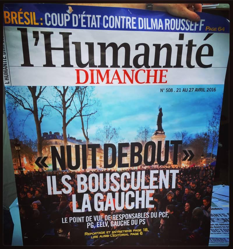 """Couv de l'Humanité """"NuitDebout: ils bousculent la gauche"""""""