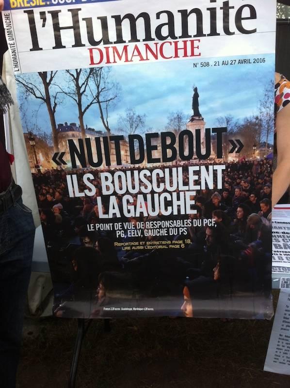 Nuit Debout à la Une de l'Humanité.