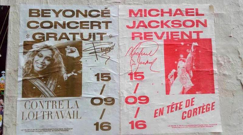 Affiche manifestation du 15 septembre 2016 avec Beyoncé et Michael Jackson