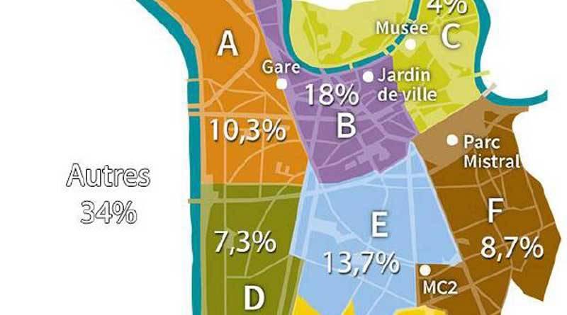 Carte de répartition géographique des participants à Nuit Debout Grenoble