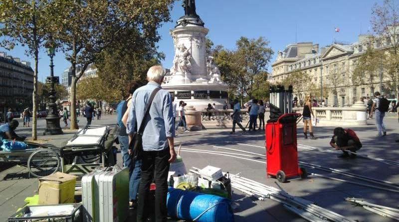 L'installation de la place samedi 3 septembre 2016 place de la République