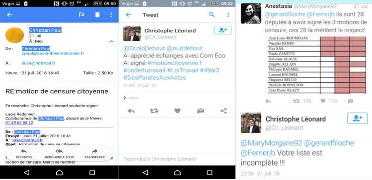 E-mail assistante parlementaire M. Léonard / tweets M. Léonard