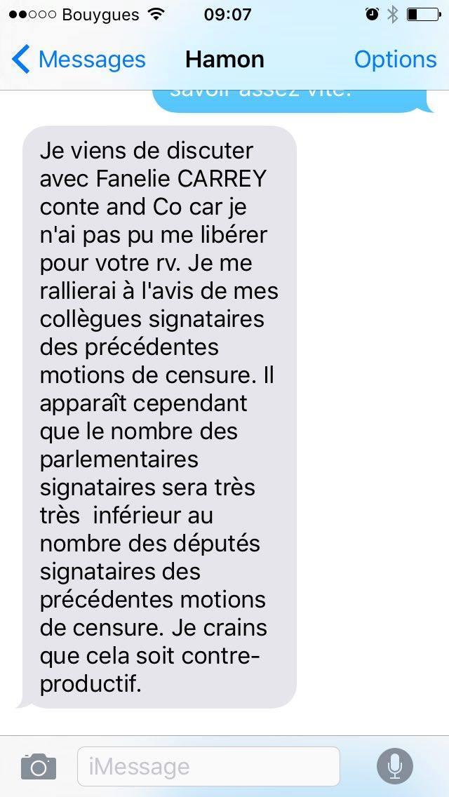 Le SMS de refus de Benoît Hamon