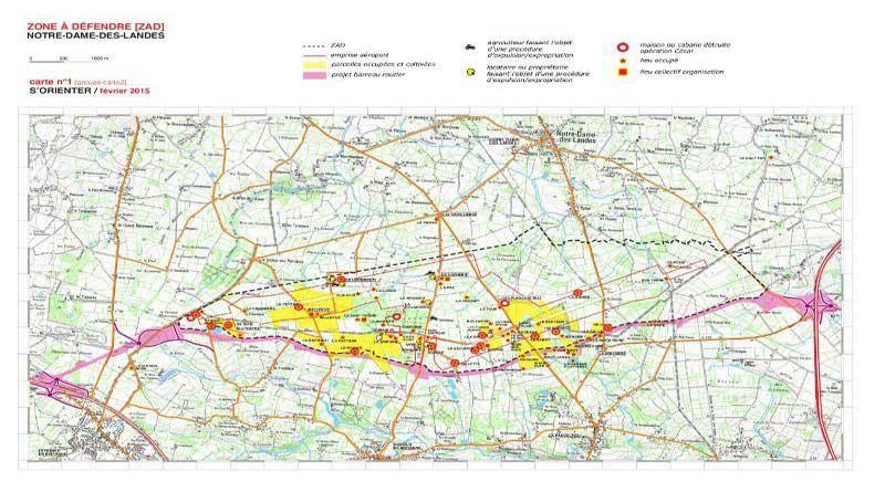 La carte pour s'orienter dans la ZAD de Notre-Dame-des-Landes.