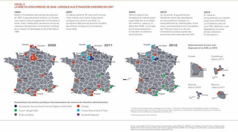 La mise en concurrence des CRA en France. Carte Migreurop.