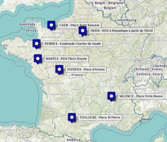 Rassemblements en France. / Carte Anaïs Bourdet