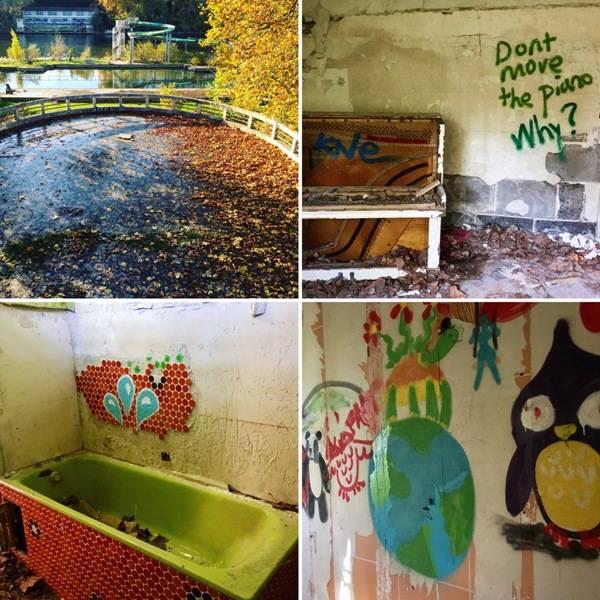 Sur le site de l'ancienne piscine, des artistes ont laissé leurs empreintes sur les murs.